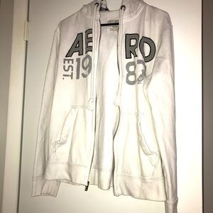 Medium white full zip Aeropostale hoodie